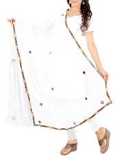 White Chiffon Banarasi Dupatta - By