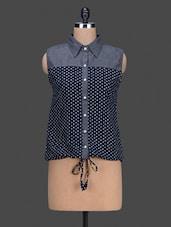 Sleeveless Polka Dot Printed Shirt - By