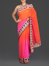 Pink And Orange Embroidered Georgette Saree - By