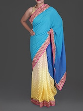 Blue Georgette Saree With Ombre Yellow Skirt - Roop Sha