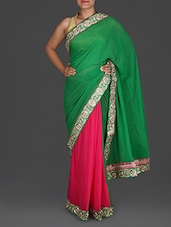 Green And Pink Georgette Saree - Roop Sha