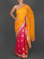 Orange And Pink Printed Georgette Saree - Roop Varsha