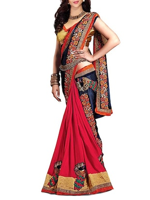 red georgette embroidered lehenga saree