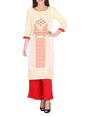 Yellow, Red & White Rayon Straight Kurta - By