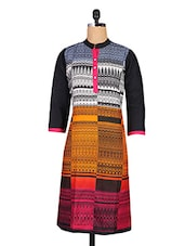 Multicolour Plain Printed Cotton Kurti - Maya Antiques