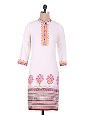 White Polka Dots Printed Cotton Kurti - Maya Antiques