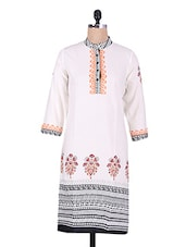 White Polka Dots Printed Cotton Kurti - By - 1186665