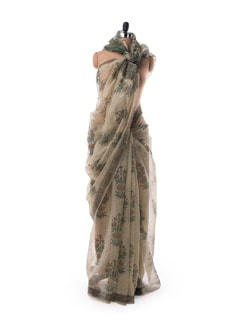 Off-white Sheer Kota Hand Block Printed Saree - Nanni Creations
