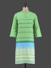 Mandarin Collar Quarter Sleeves Cotton Kurta - Shwetna.com