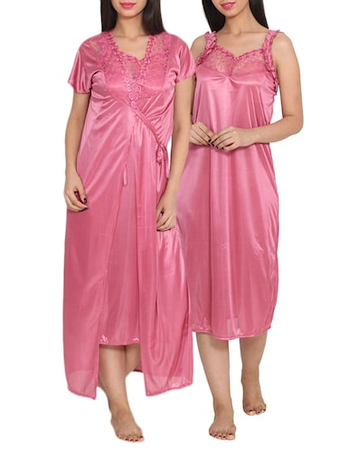 e0056ac8e0 Buy Solid Pink Nighty by Prettysecrets - Online shopping for ...