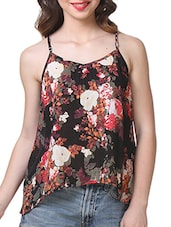 Floral Print Black Rayon Top - Purys