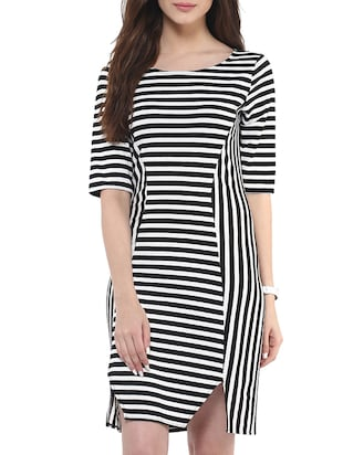 black and white striped viscose dress