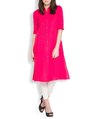 pink cotton aline kurta