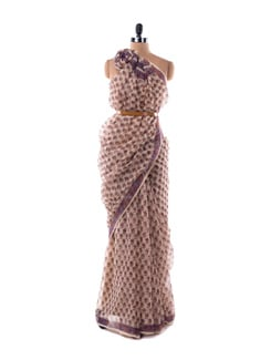 Off-white And Sheer Purple Kota Hand Block Printed Saree - Nanni Creations
