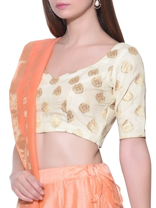 Cream floral brocade stitched blouse