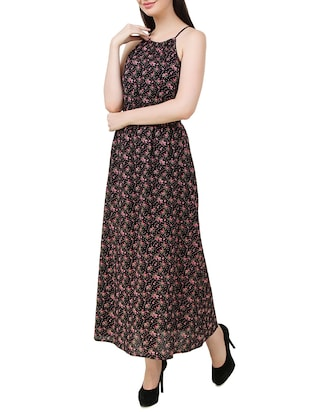 black floral printed cotton maxi dress - 11876835 - Standard Image - 2