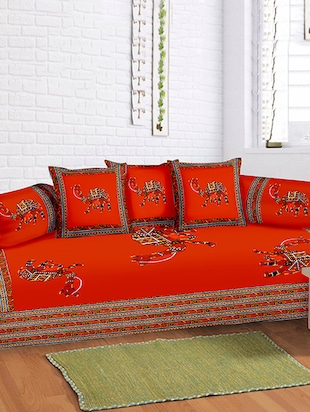 Lali Prints 8 Pcs Maroon Camel Designer Print Diwan set with 5 Cushion and 2 Bolster Covers and 1 Bedsheet