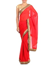 Red Georgette Saree With Sequined Border - Vastrangam
