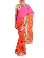 Pink And Orange Embroidered Chiffon Saree - By