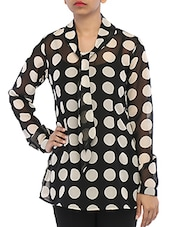 Tie Up Collar Polka Dot Printed Georgette Shirt - By