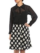 Polka Dot Printed Sheer Shirt Dress - RIGOGLIOSO