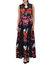 Multicolored Georgette Printed  Maxi Dress - By
