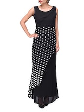 Black Georgette Polka Dots  Maxi Dress - By
