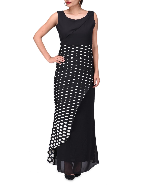 Black Georgette Polka Dots  Maxi Dress - By