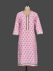 Pink Printed Cotton Round Neck Kurta - SHREE