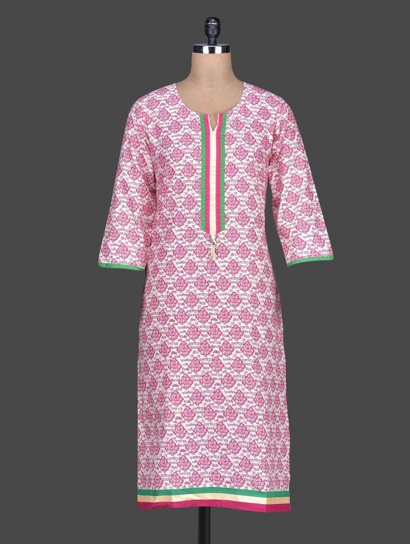 Pink Printed Cotton Round Neck Kurta - SHREE