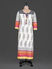 Multicolour Printed Round Neck Cotton Kurta - SHREE