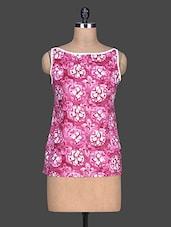 Pink Printed Cotton Sleeveless Top - SHREE