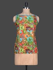 Multicolour Printed Cotton Sleeveless Top - SHREE - 1189273