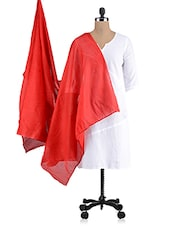 Solid Red Cotton Dupatta - Saving Tree