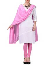 Solid Pink Cotton Leggings And Dupatta Set - By