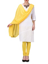 Solid Yellow Cotton Leggings And Dupatta Set - By