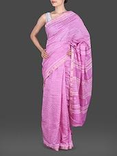 Pink Hand Block Printed Silk Cotton Saree - Maandna
