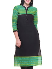 Green And Black Cotton Straight Kurta - By
