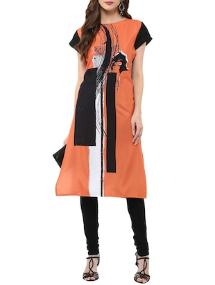 Orange Crepe Printed Straight Kurta