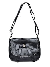 Black Cut Work Faux Leather Sling Bag - By