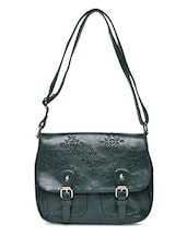 Green Cut Work Faux Leather Sling Bag - By
