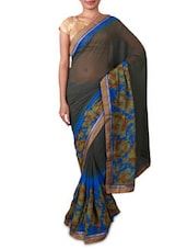 Grey Floral Printed Georgette Saree - Fabdeal