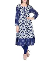 blue cotton anarkali kurta -  online shopping for kurtas