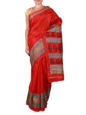 Orange Printed Bhagalpuri Silk Saree - Fabdeal