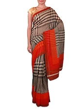 Beige And Black Printed Linen Silk Saree - Fabdeal