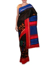 Printed Black Bhagalpuri Silk Saree - By
