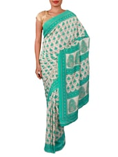 Sea Green And Cream Floral Print Saree - By