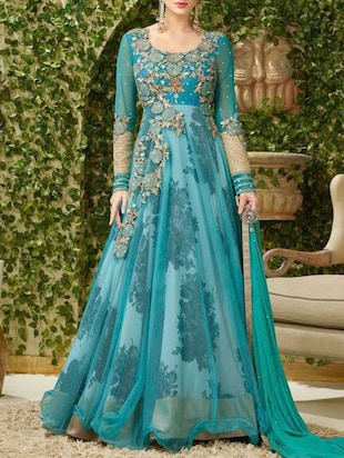 blue georgette anarkali unstitched suit