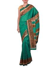Green Paisley Printed Bhagalpuri Silk Saree - Fabdeal