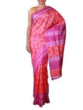 Pink Floral Printed Bhagalpuri Silk Saree - Fabdeal